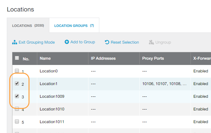 Location Groups Page - Selecting Locations