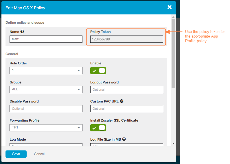 Screenshot of the policy token from a Zscaler App Profile policy