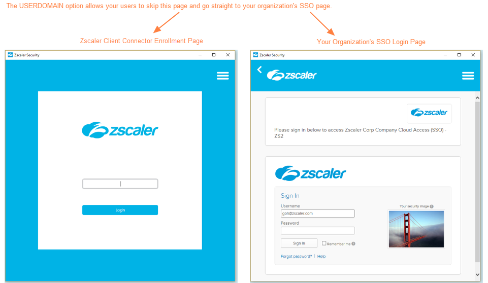 Screenshot of the Zscaler App enrollment page and an organization SSO login page