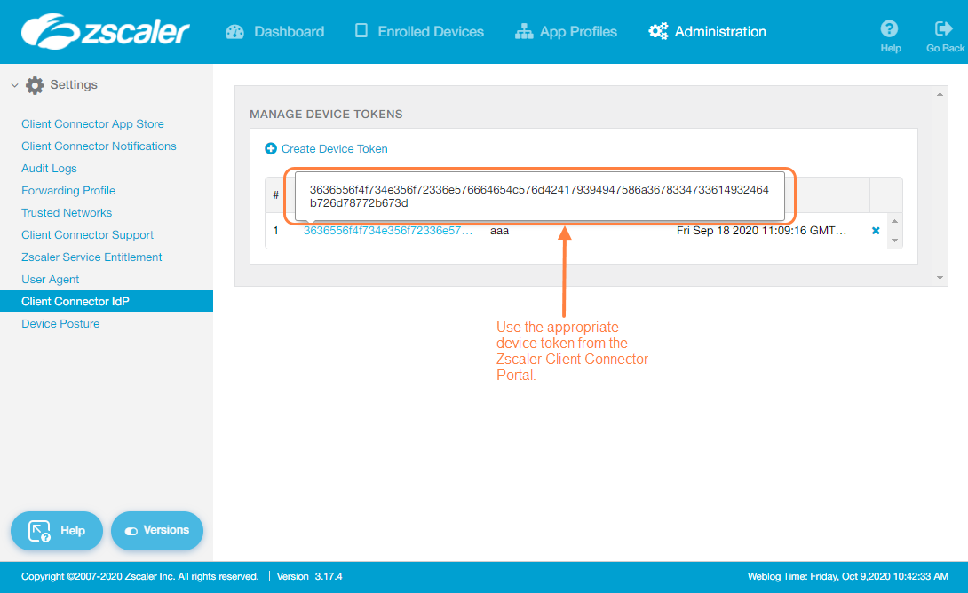 Screenshot of the device token from the Zscaler App Portal