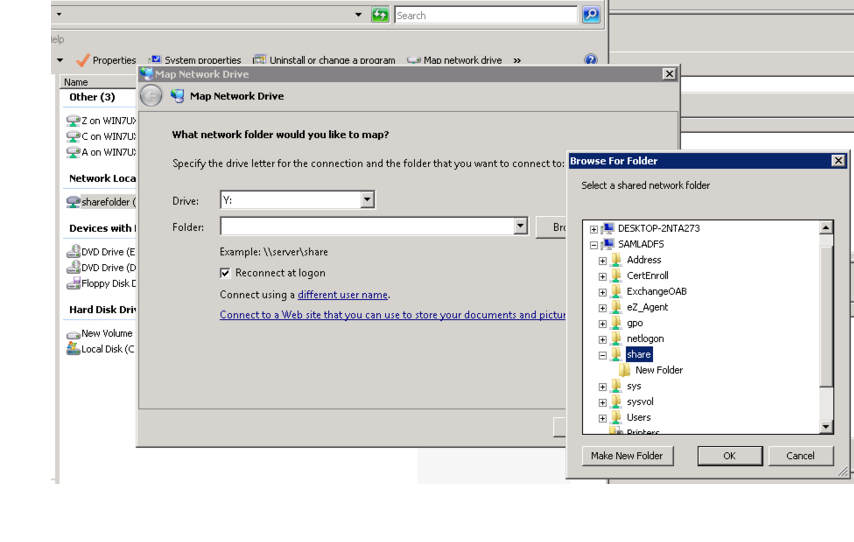 Screenshot of mapping the folder as a network drive