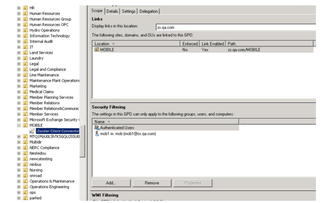Screenshot of creating a new GPO policy for the OU to install the Zscaler App