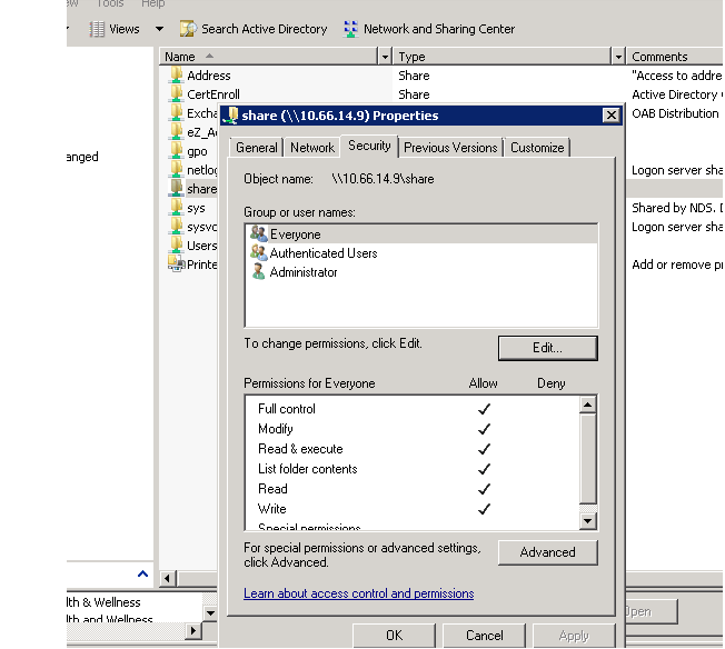 Screenshot of providing access permissions in the Security tab
