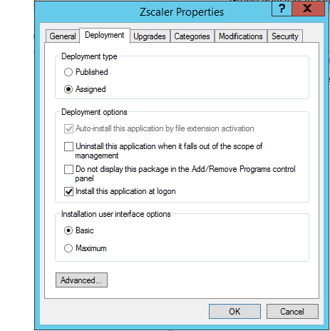 Screenshot of the Deployment tab of the Zscaler Properties window