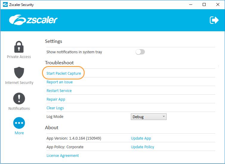 Enabling Packet Capture for Zscaler App | Zscaler