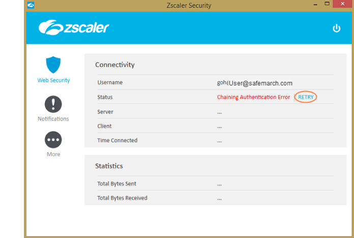 Screenshot of the Retry option in the Status row of the Zscaler App