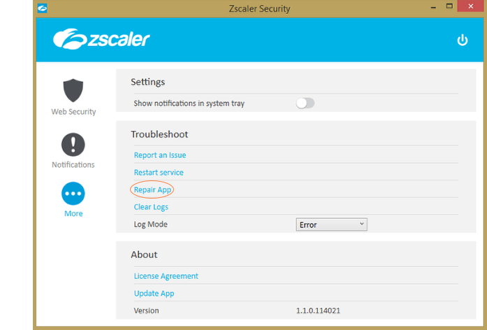 Screenshot of the Repair App option for the Zscaler App