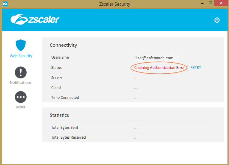 Screenshot of the Zscaler App displaying an error message in the Status row