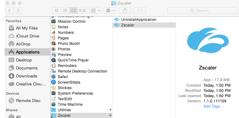 Where is the Zscaler App installed on macOS devices? | Zscaler