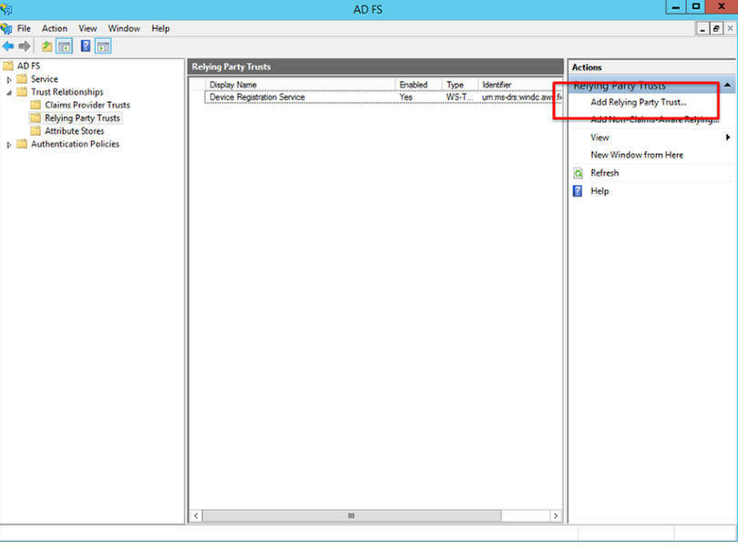 Screenshot displaying how to configure the Zscaler service as a relying party trust