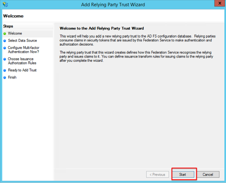 Screenshot showing the text displayed when opening the add relying party trust wizard