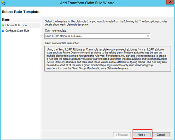 Screenshot of Add Transform Claim Rule wizard with Next button highlighted