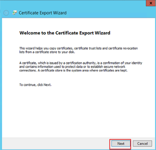 Screenshot of the opening page of the Certificate Export Window