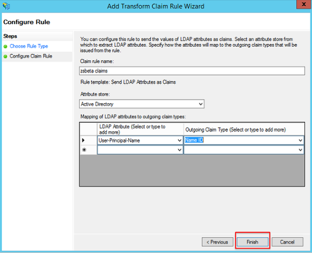 Screenshot of the Add Transform Claim wizard with the finish button highlighted.