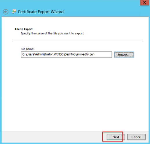 Screenshot showing the Certificate Export Window and where to enter the file name