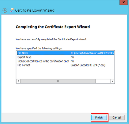 Screenshot of the final page of the Certificate Export Wizard