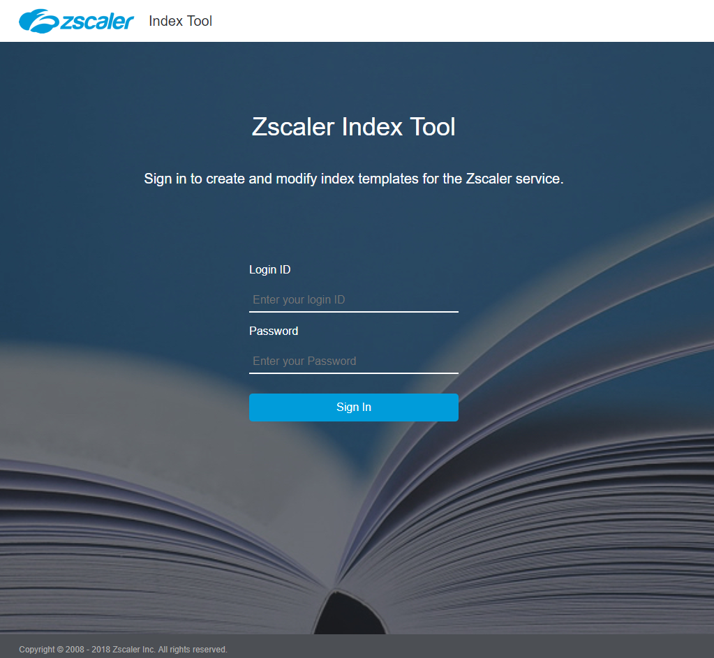 Zscaler Index Tool Login Screen