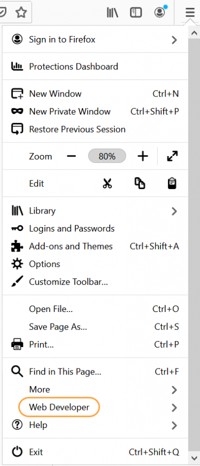 Screenshot of Mozilla Firefox window with Web Developer option highlighted