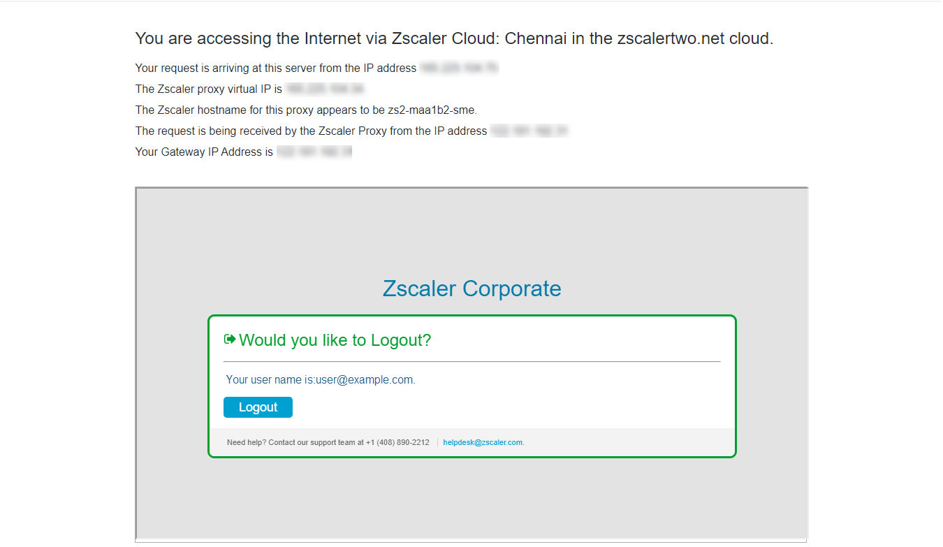 Screenshot of ip.zscaler.com that provides labeled details about the Zscaler cloud to which the device is sending its traffic and links to