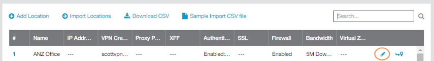 Screenshot of Edit icon for Zscaler admin portal