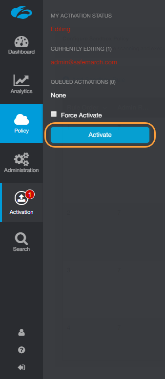 Screenshot of Zscaler Admin Portal Activate button