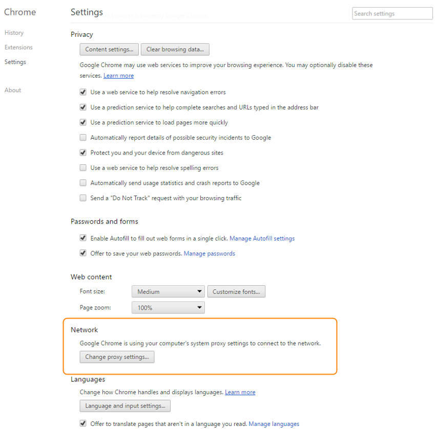 Screenshot of Settings page on Google Chrome Settings. Network section is highlighted. Change proxy settings buttons is highlighted.