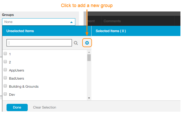 Screenshot of Group drop-down menu in Add User dialog box. The add icon is highlighted to show that its use is to add a new group.