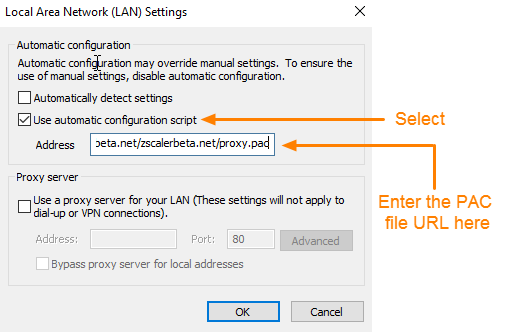 Screenshot of LAN Settings window highlighting Use automatic configuration script option. PAC file URL is entered in Address field.