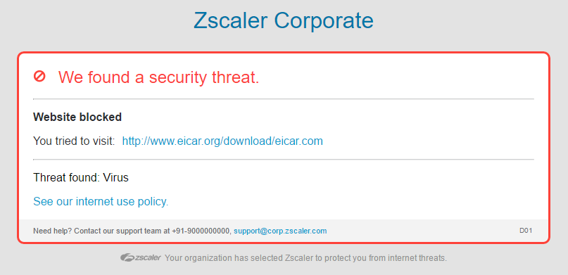 Screenshot telling Zscaler user that a security threat has been found in the form of a virus