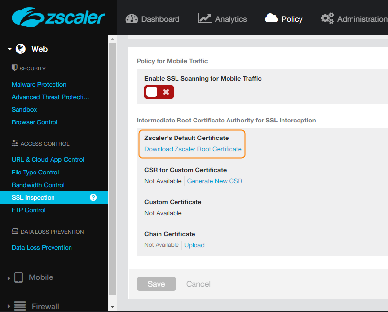 Screenshot of SSL Inspection page of Zscaler UI with Zscaler Default Certificate section highlighted