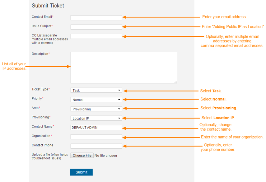 Screenshot of the Submit a Ticket page showing each field used to submit a ticket