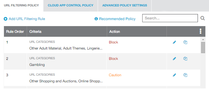Screenshot of URL Filtering Policy Page showing Other Adult Material and Gambling as blocked and Other Shopping and Auctions as caution.