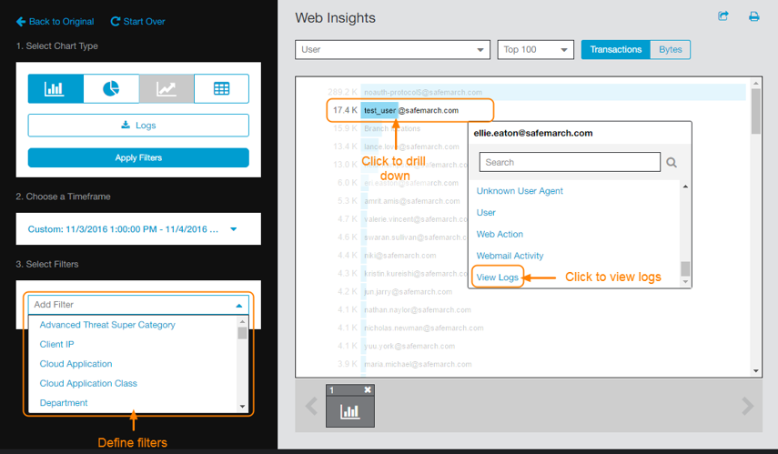 Screenshot of Web Insights showing Filter drop-down menu, a user email, and View Logs option to view user's logs