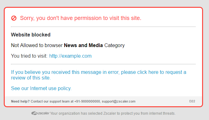 Screenshot of message that tells Zscaler user they've accessed a blocked website
