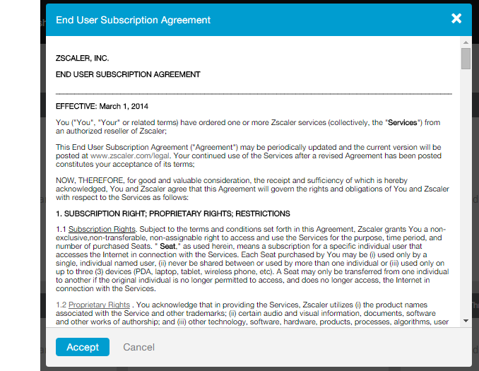 Screenshot of Zscaler End User Subscription Agreement