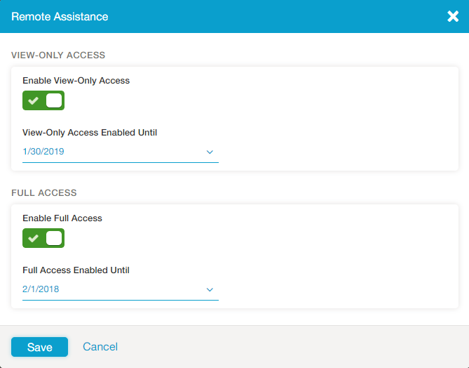 Screenshot of the remote assistance options