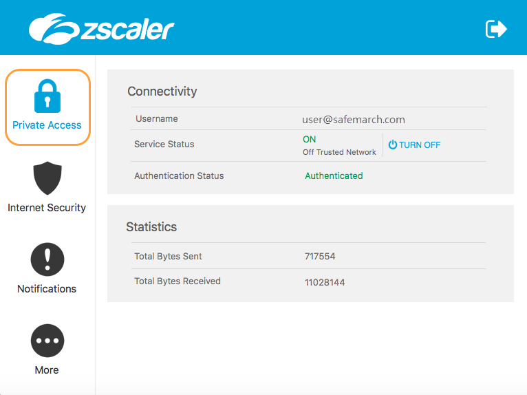 Viewing information About Private Access on the Zscaler App (macOS