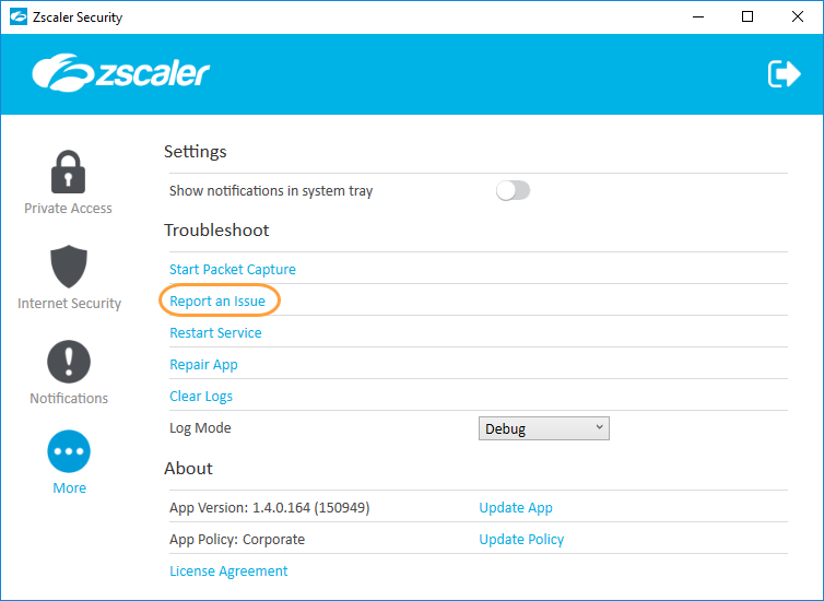 Screenshot of the Report an Issue option for Zscaler App for Windows