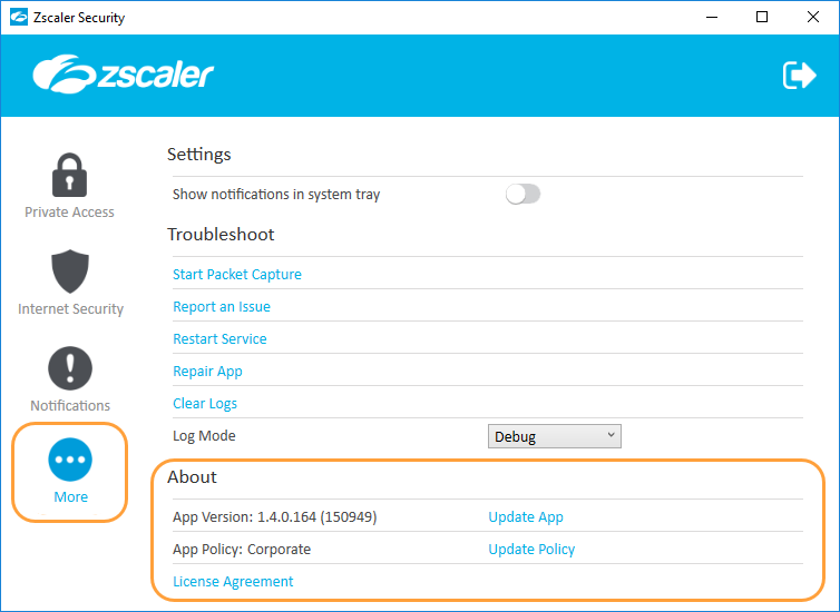 screenshot of the about menu features of the zscaler app for windows