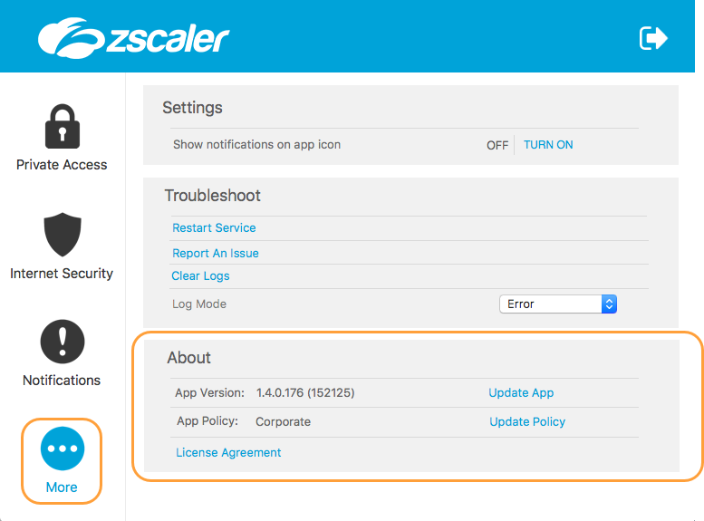 Screenshoot of the About menu features of the Zscaler App for macOS