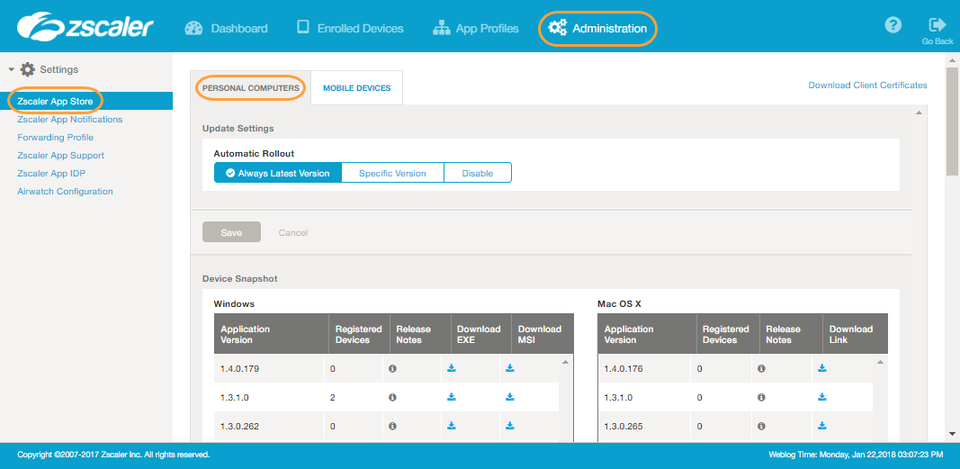 Screenshot of the Zscaler App Store page in the Zscaler App Portal