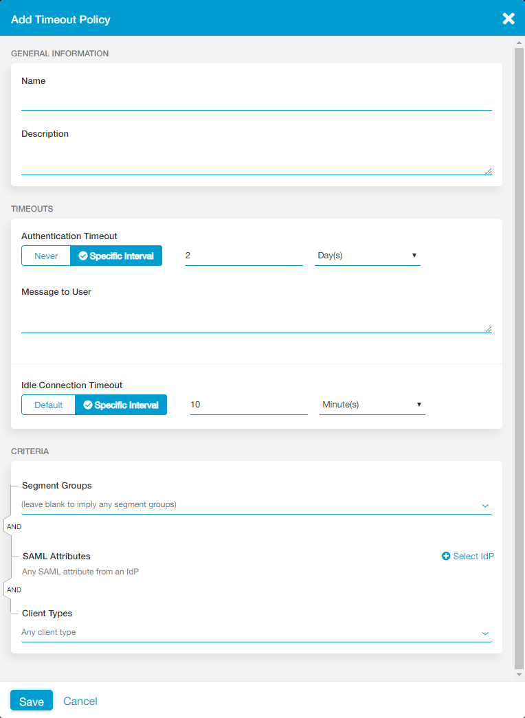 Configuring Timeout Policies | Zscaler