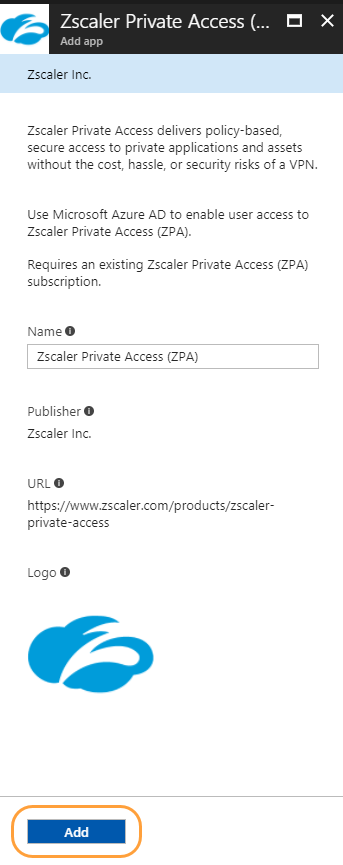 Add app panel within the Microsoft Azure Portal