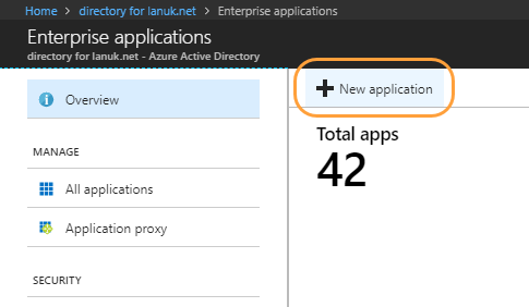 Enterprise applications page with New application option within Microsoft Azure Portal