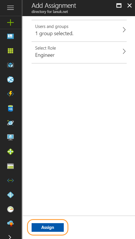 Add Assignment panel within the Microsoft Azure Portal