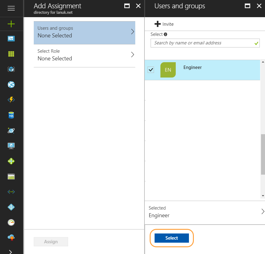 Add Assignment > Users and groups panel within the Microsoft Azure Portal