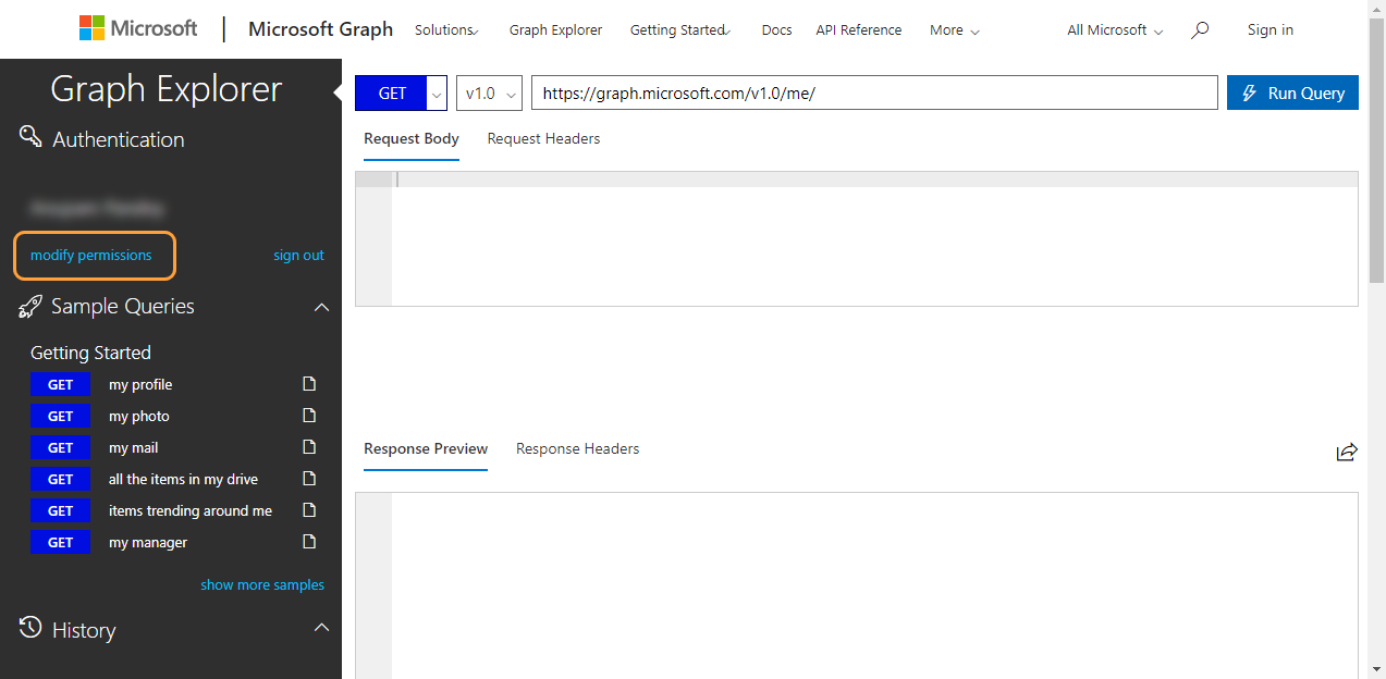 Authentication with modify permissions within the Microsoft Graph Explorer