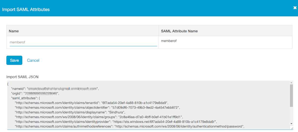 Import SAML Attributes page in ZPA Admin Portal