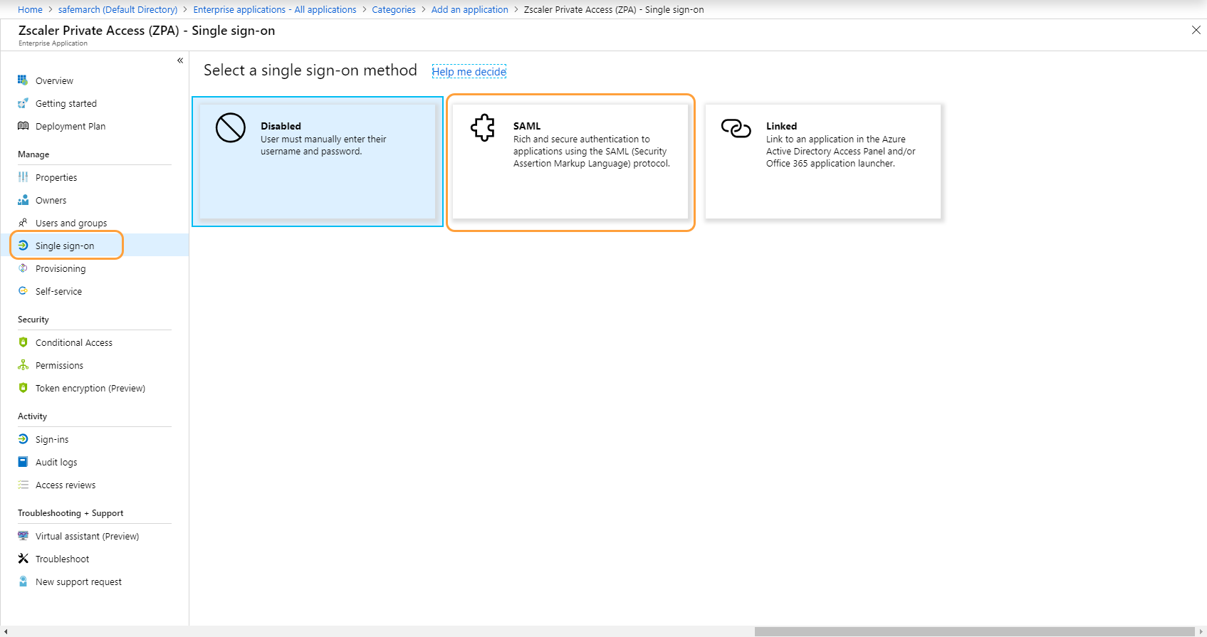 Single sign-on panel within the Microsoft Azure Portal